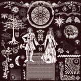 Средневековый набор вектора Woodcut - характеры мебели объектов предпосылок бесплатная иллюстрация