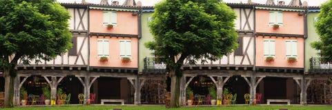 Средневековый панорамный деревянный фасад Mirapoix южная Франция Стоковые Фото