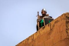Средневековый рыцарь на предохранителе Стоковые Фото