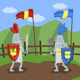 Средневековый турнир knits, 2 amed рыцаря биться на лете благоустраивает иллюстрацию вектора предпосылки иллюстрация штока