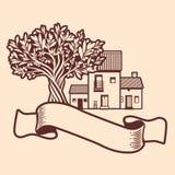 Среднеземноморская деревня, пустое знамя текста и оливковое дерево Стоковые Изображения RF