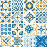 Среднеземноморская картина Декоративные картины Лиссабона безшовные Орнаментальные элементы для вектора плиток мозаики оформления бесплатная иллюстрация