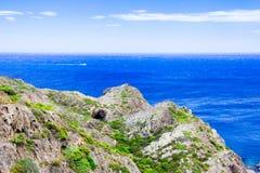 Среднеземноморские береговая линия, скалы и залив, Каталония, Испания Стоковая Фотография