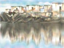 среднеземноморское село иллюстрация штока