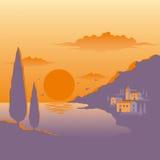 среднеземноморской заход солнца Стоковые Изображения RF