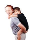 Средний постаретый мальчик удерживания женщины стоковые изображения rf