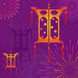 Средний фонарик фестиваля осени в иллюстрации дизайна предпосылки фейерверка иллюстрация вектора