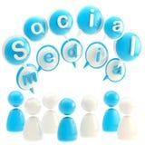 средства голубой эмблемы лоснистые изолированные социальные Стоковая Фотография