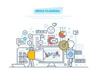 Средства массовой информации планируя, цифровой маркетинг, продвижение в социальной сети, онлайн деле иллюстрация вектора