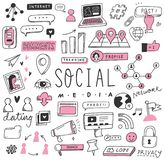 Средства массовой информации руки вычерченные социальные doodle набор иллюстрация вектора