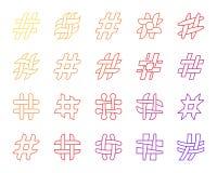 Средства массовой информации Hashtag простые социальные выравнивают набор вектора значков иллюстрация вектора