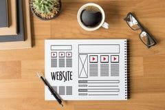 Средства массовой информации WW программного обеспечения чертежа эскиза плана деятельности вебсайта дизайнерские Стоковое Фото