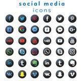 36 средств массовой информации ( новых логотип-значков социальных; vector) иллюстрация вектора