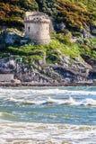 Средиземное море и историческая башня шестнадцатого века стоковое фото