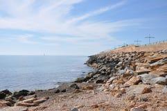 Средиземное море на солнечный день Яхты в море Стоковое Изображение RF