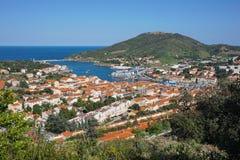 Средиземное море Франция Vendres порта прибрежного города стоковые фото