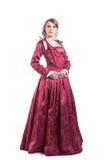 Средневековая дама времен одетая в элегантное ретро Стоковое Изображение RF
