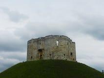 Средневековая башня на зеленом холме Стоковое фото RF