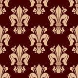 Средневековая викторианская безшовная картина fleur-de-lis Стоковые Фото