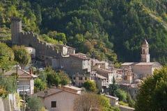 Средневековая деревня Lucéram стоковое фото rf
