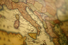 Средневековая карта Европы - Италия Стоковые Фотографии RF