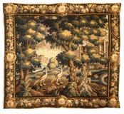 Средневековая картина ткани гобелена Стоковое фото RF