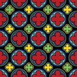 Средневековая картина цветного стекла готическая безшовная Стоковое Фото