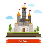 Средневековая крепость с башнями иллюстрация штока