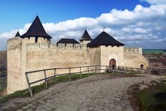 Средневековая крепость Khotyn, Украина стоковые фотографии rf