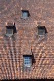 Средневековая крыша с dormers в Гданьске, Польшей стоковая фотография rf