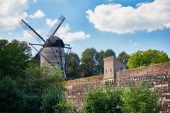 Средневековая мельница ветра и старая стена городка Zons стоковая фотография rf