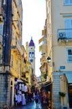 средневековая улица Стоковое Изображение