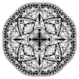 Средневековая черно-белая мандала Стоковое Изображение
