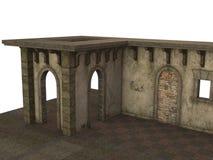 Средневековое здание павильона на каменном поле представленном в 3D на белой предпосылке Стоковая Фотография