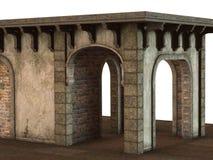 Средневековое здание павильона представленное в 3D на белой предпосылке Стоковая Фотография RF