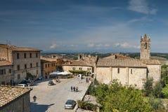 Средневековое село Monteriggione Тосканы Стоковое Изображение