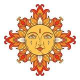 Средневековое солнце с стороной для печати Стоковые Фото