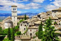 Средневековое Assisi, Умбрия, Италия стоковые фотографии rf