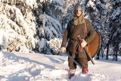 Средневековое warriorin в панцыре в лесе зимы Стоковая Фотография