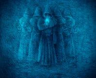 Средневековые монахи с свечой бесплатная иллюстрация