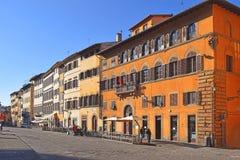 Средневековые дома на квадрате перед дворцом Pitti, Флоренс Стоковая Фотография RF