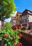 Средневековые дома fachwerk на районе Tanners Стоковые Изображения RF