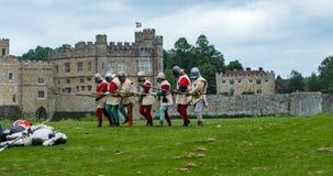 Средневековые пехотинцы с копьями Стоковое Фото