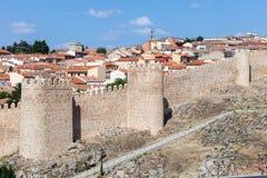 Средневековые стены города Авила, Испании Стоковое фото RF