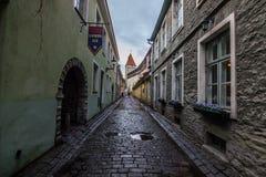 Средневековые улицы старого Talinn, Эстонии стоковое фото rf