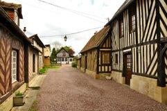 Средневековые французские дома с обрамлять тимберса Стоковая Фотография