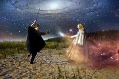 Средневековые человек и женщина Стоковые Изображения RF