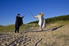 Средневековые человек и женщина Стоковые Изображения