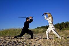 Средневековые человек и женщина Стоковая Фотография