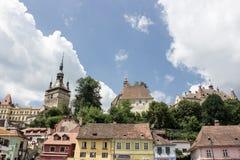 Средневековый взгляд улицы в цитадели Sighisoara, Румынии Стоковое Фото
